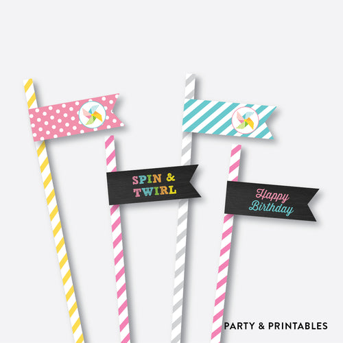 Pinwheel Chalkboard Straw Flags / Non-Personalized / Instant Download (CKB.08)