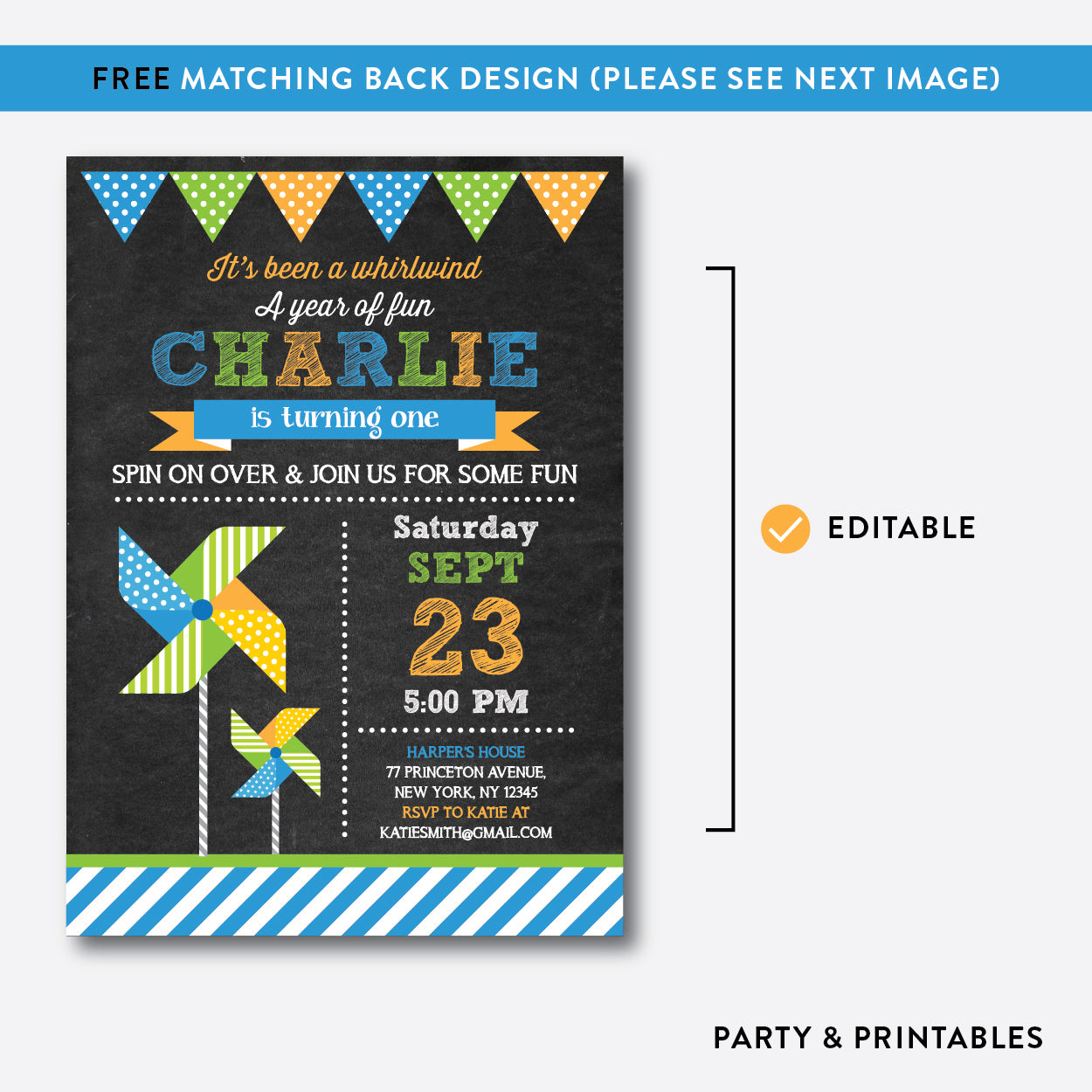 Pinwheel Chalkboard Kids Birthday Invitation / Editable / Instant Download (CKB.09B), invitation - Party and Printables