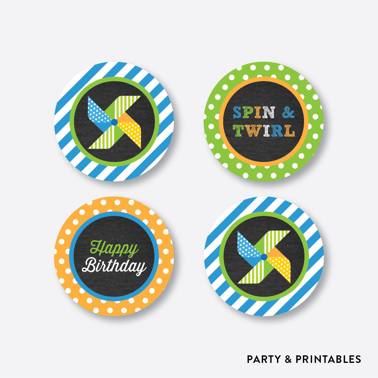 Pinwheel Chalkboard Cupcake Toppers / Non-Personalized / Instant Download (CKB.09), party printables - Party and Printables