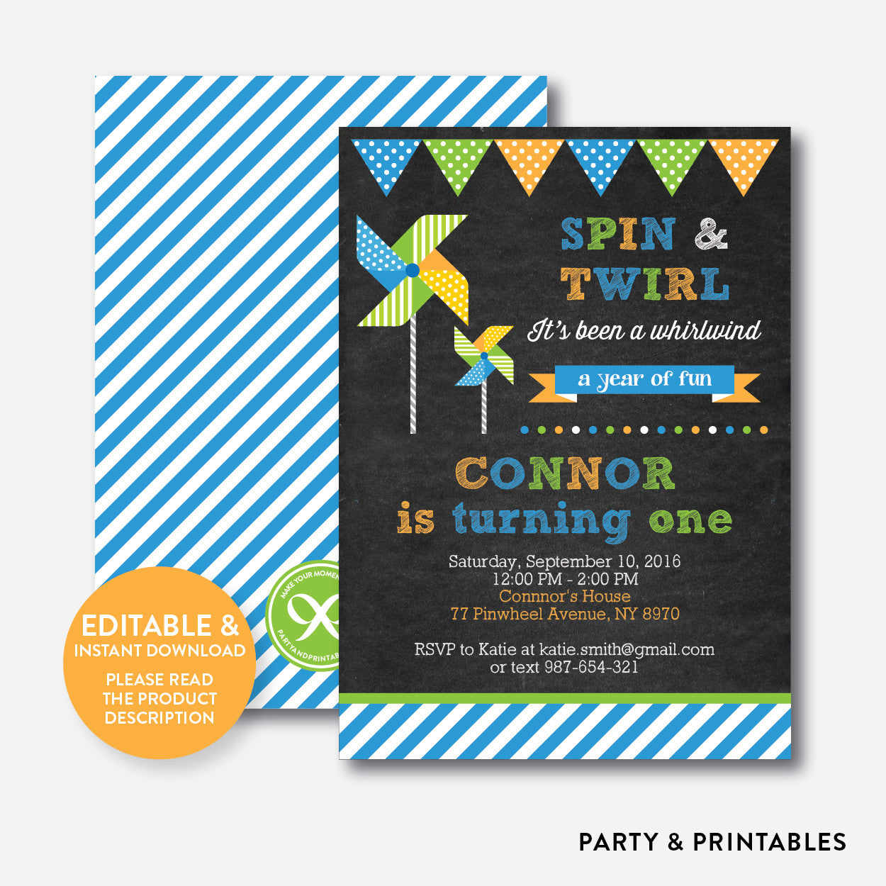 Pinwheel Chalkboard Kids Birthday Invitation / Editable / Instant Download (CKB.09), invitation - Party and Printables