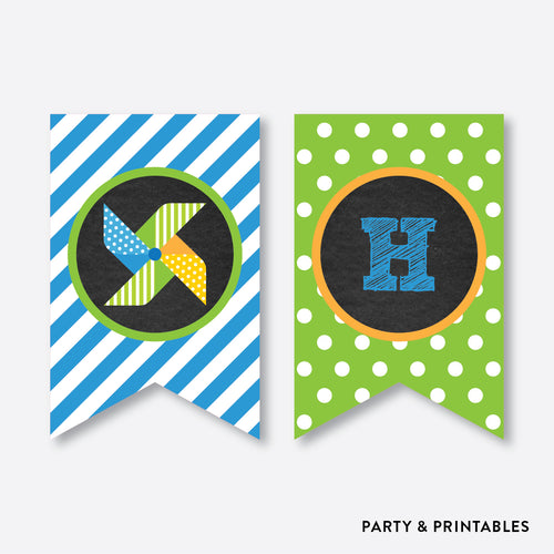 Pinwheel Chalkboard Party Banner / Happy Birthday Banner / Non-Personalized / Instant Download (CKB.09)