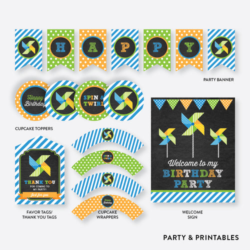 Pinwheel Chalkboard Standard Kids Birthday Party Package / Non-Personalized / Instant Download (CKB.09)