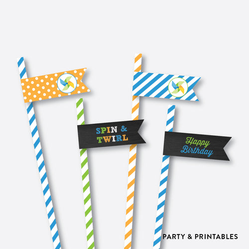 Pinwheel Chalkboard Straw Flags / Non-Personalized / Instant Download (CKB.09)