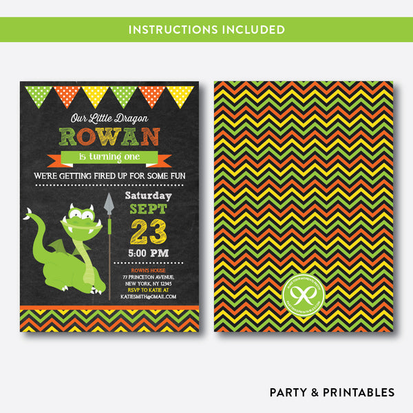 Dragon Chalkboard Kids Birthday Invitation / Editable / Instant Download (CKB.101), invitation - Party and Printables