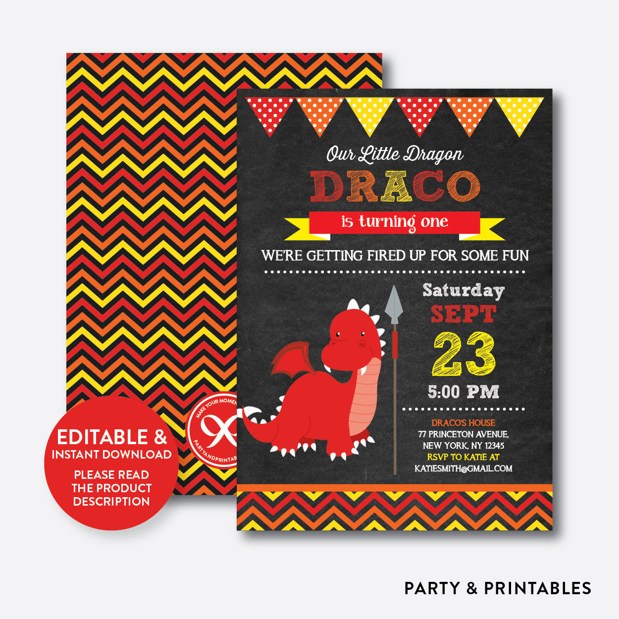Dragon Chalkboard Kids Birthday Invitation / Editable / Instant Download (CKB.102), invitation - Party and Printables
