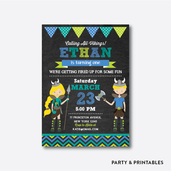 Viking Chalkboard Kids Birthday Invitation / Personalized (CKB.103)