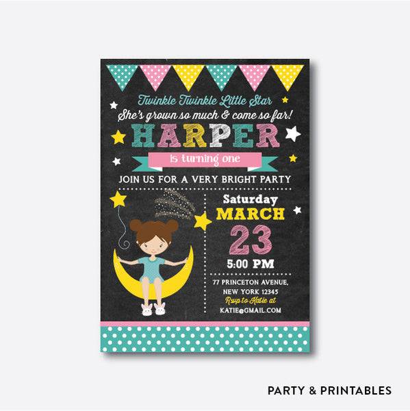 Twinkle Twinkle Little Star Girl Chalkboard Kids Birthday Invitation / Personalized (CKB.104), invitation - Party and Printables