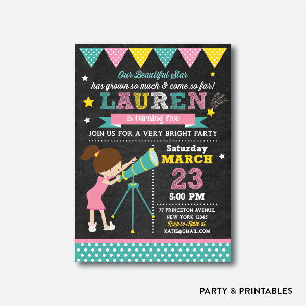 Twinkle Twinkle Little Star Girl Chalkboard Kids Birthday Invitation / Personalized (CKB.106), invitation - Party and Printables