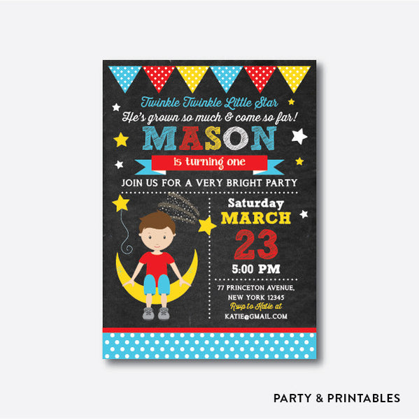Twinkle Twinkle Little Star Boy Chalkboard Kids Birthday Invitation / Personalized (CKB.107), invitation - Party and Printables