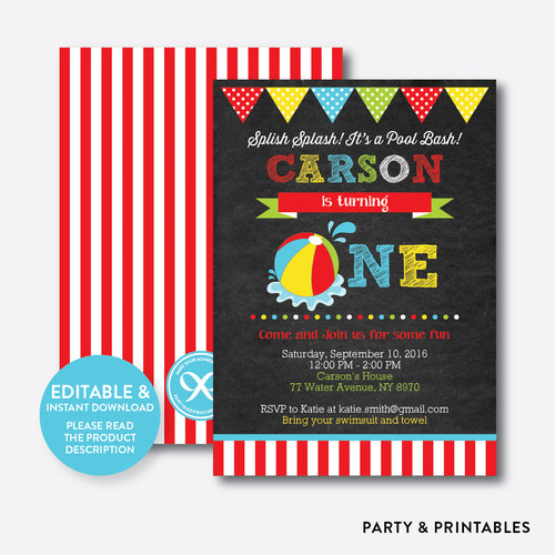 Beach Ball Chalkboard 1st Birthday Invitation / Editable / Instant Download (CKB.108B)
