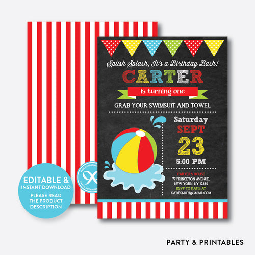 Beach Ball Chalkboard Kids Birthday Invitation / Editable / Instant Download (CKB.108C)