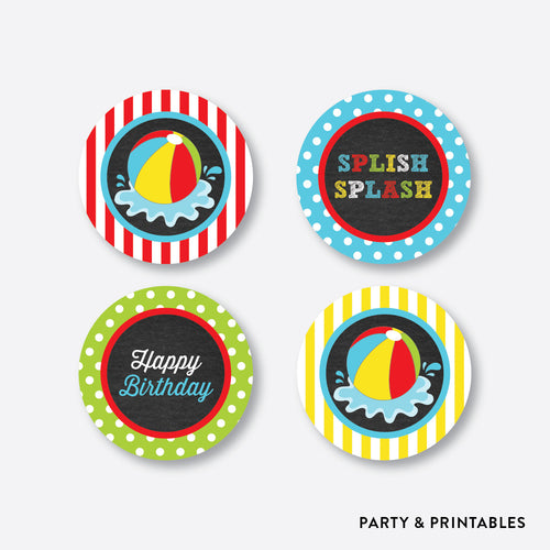 Beach Ball Chalkboard Cupcake Toppers / Non-Personalized / Instant Download (CKB.108)