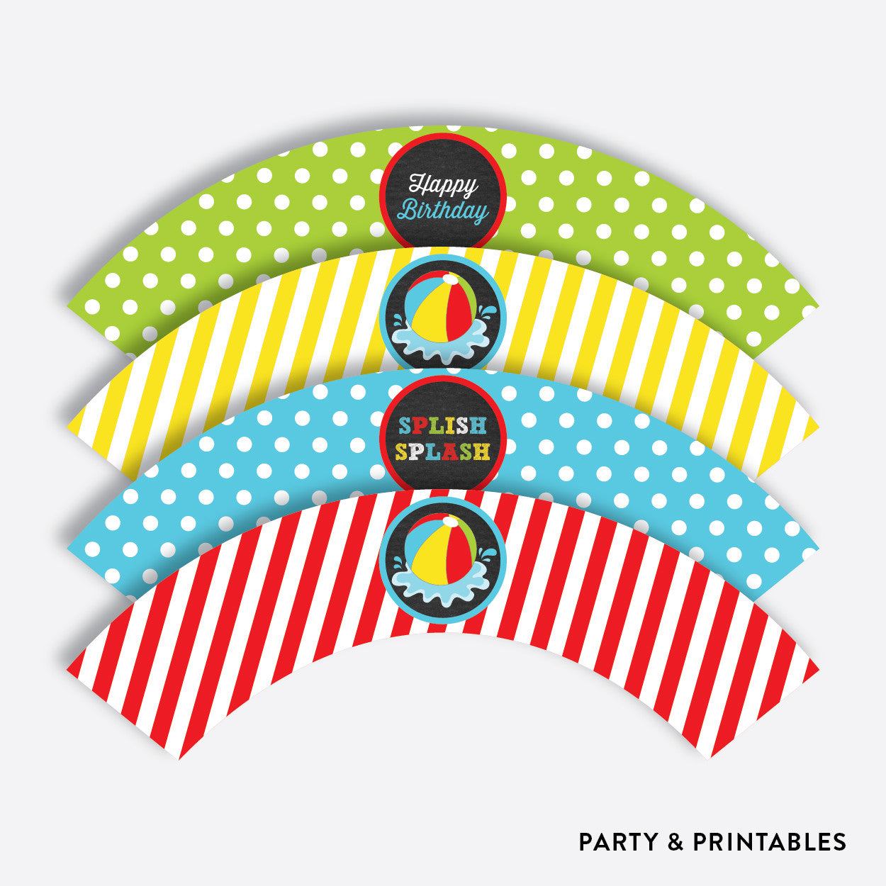Beach Ball Chalkboard Cupcake Wrappers / Non-Personalized / Instant Download (CKB.108), party printables - Party and Printables