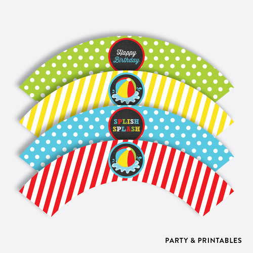 Beach Ball Chalkboard Cupcake Wrappers / Non-Personalized / Instant Download (CKB.108)