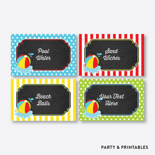 Beach Ball Chalkboard Food Labels / Editable / Instant Download (CKB.108)
