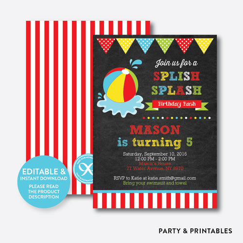 Beach Ball Chalkboard Kids Birthday Invitation / Editable / Instant Download (CKB.108)