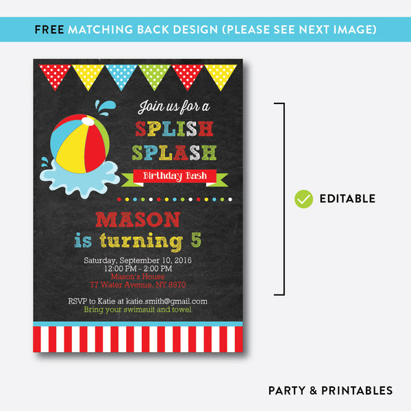 Beach Ball Chalkboard Kids Birthday Invitation / Editable / Instant Download (CKB.108), invitation - Party and Printables