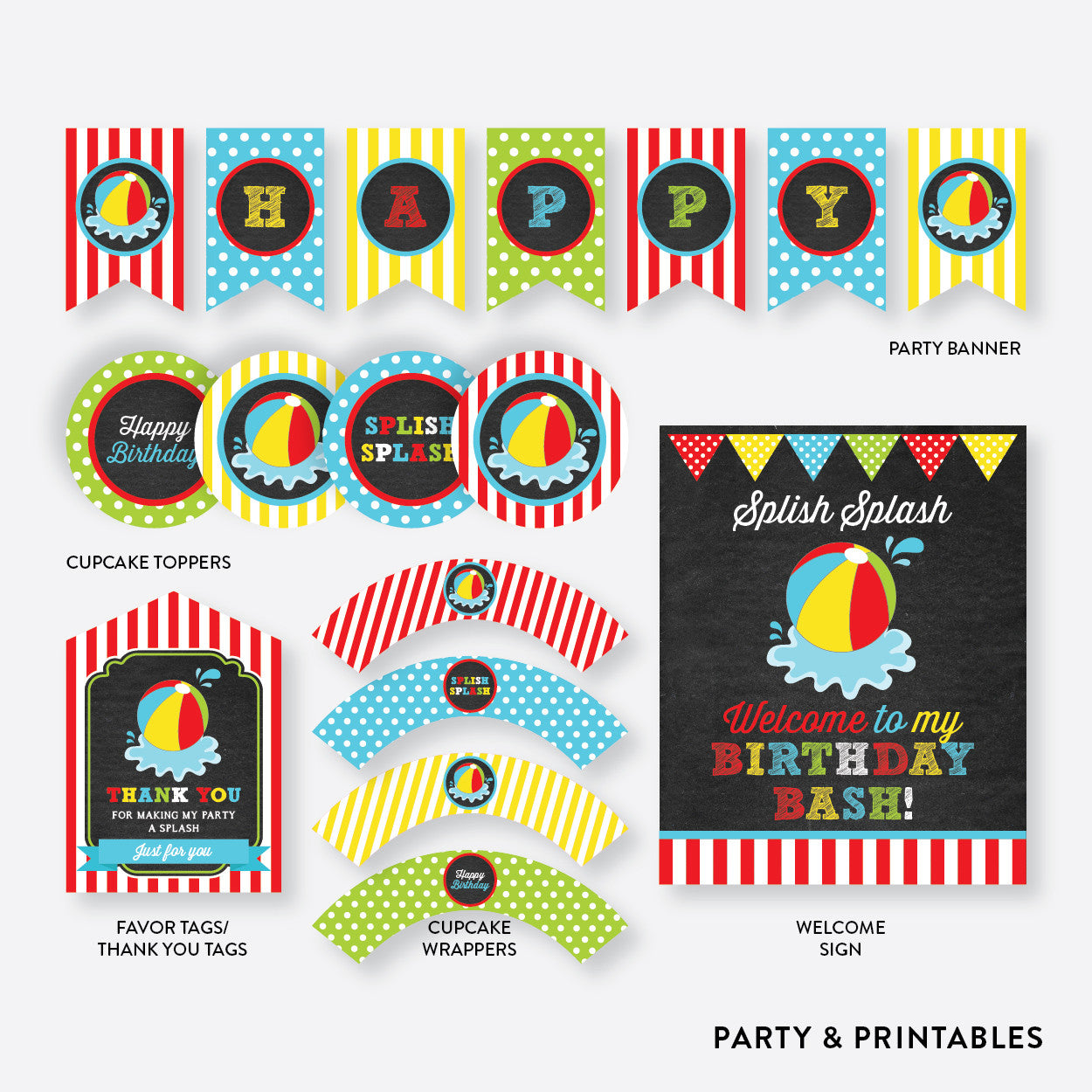 Beach Ball Chalkboard Standard Kids Birthday Party Package / Non-Personalized / Instant Download (CKB.108), party package - Party and Printables