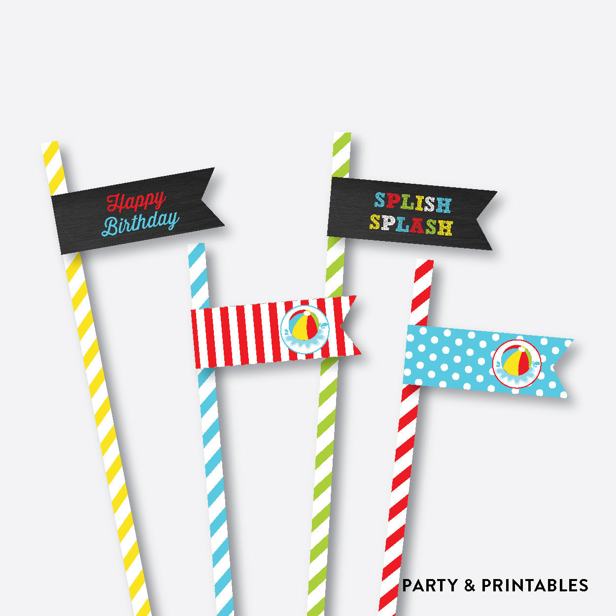 Beach Ball Chalkboard Straw Flags / Non-Personalized / Instant Download (CKB.108), party printables - Party and Printables