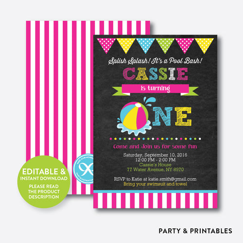 Beach Ball Chalkboard 1st Birthday Invitation / Editable / Instant Download (CKB.109B)
