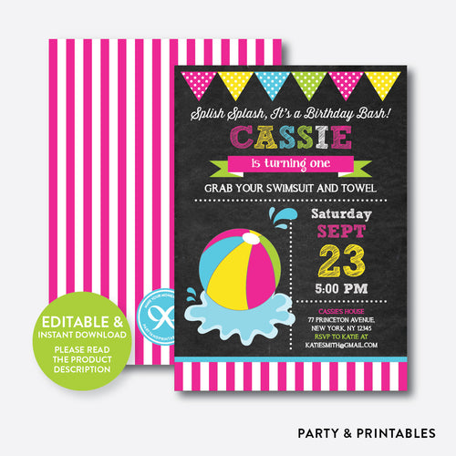 Beach Ball Chalkboard Kids Birthday Invitation / Editable / Instant Download (CKB.109C)