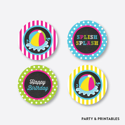 Beach Ball Chalkboard Cupcake Toppers / Non-Personalized / Instant Download (CKB.109)