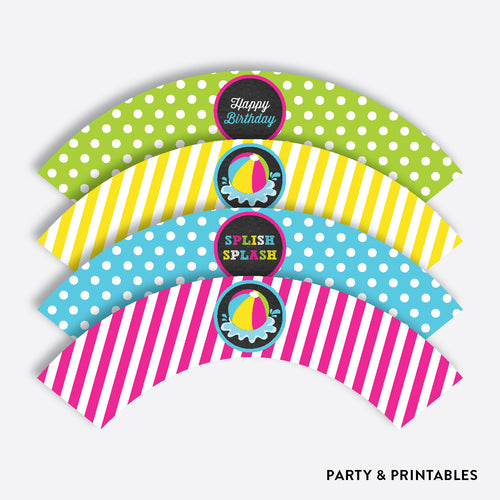 Beach Ball Chalkboard Cupcake Wrappers / Non-Personalized / Instant Download (CKB.109)