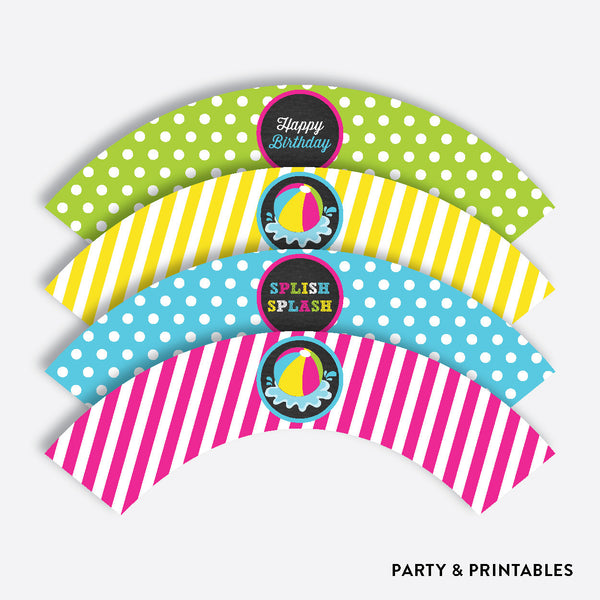Beach Ball Chalkboard Cupcake Wrappers / Non-Personalized / Instant Download (CKB.109), party printables - Party and Printables