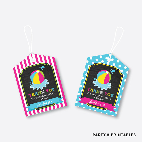 Beach Ball Chalkboard Favor Tags / Non-Personalized / Instant Download (CKB.109), party printables - Party and Printables