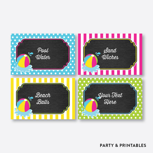 Beach Ball Chalkboard Food Labels / Editable / Instant Download (CKB.109), party printables - Party and Printables