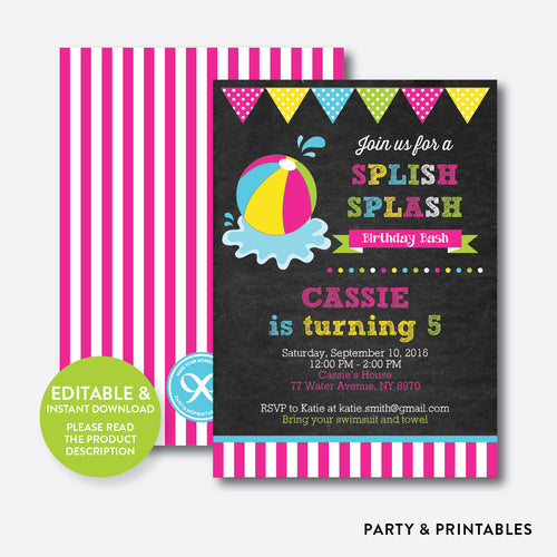 Beach Ball Chalkboard Kids Birthday Invitation / Editable / Instant Download (CKB.109)