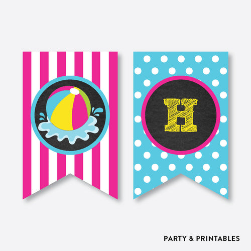 Beach Ball Chalkboard Party Banner / Happy Birthday Banner / Non-Personalized / Instant Download (CKB.109)