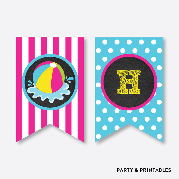 Beach Ball Chalkboard Party Banner / Happy Birthday Banner / Non-Personalized / Instant Download (CKB.109), party printables - Party and Printables