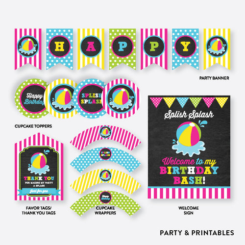 Beach Ball Pink Chalkboard Standard Kids Birthday Party Package / Non-Personalized / Instant Download (CKB.109)