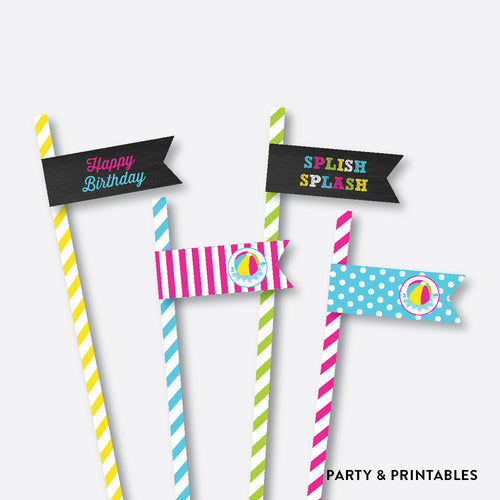 Beach Ball Chalkboard Straw Flags / Non-Personalized / Instant Download (CKB.109)
