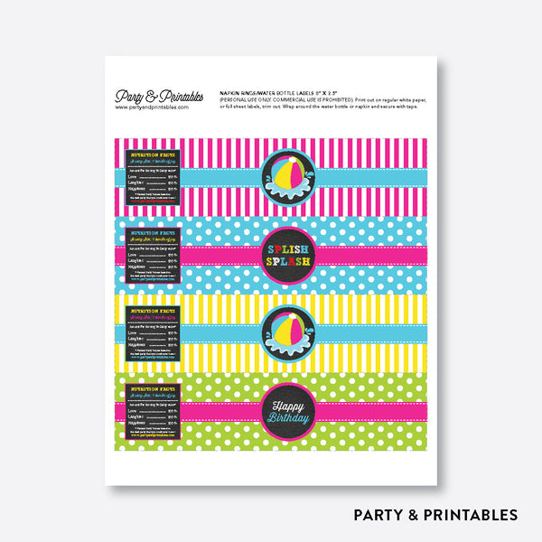 Beach Ball Chalkboard Water Bottle Labels / Non-Personalized / Instant Download (CKB.109), party printables - Party and Printables
