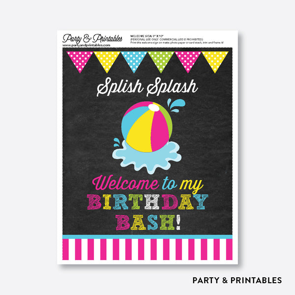 Beach Ball Chalkboard Welcome Sign / Non-Personalized / Instant Download (CKB.109), party printables - Party and Printables
