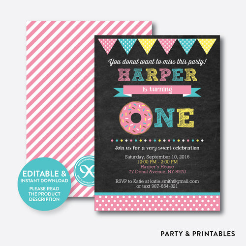 Donut Chalkboard Kids Birthday Invitation / Editable / Instant Download (CKB.10B)