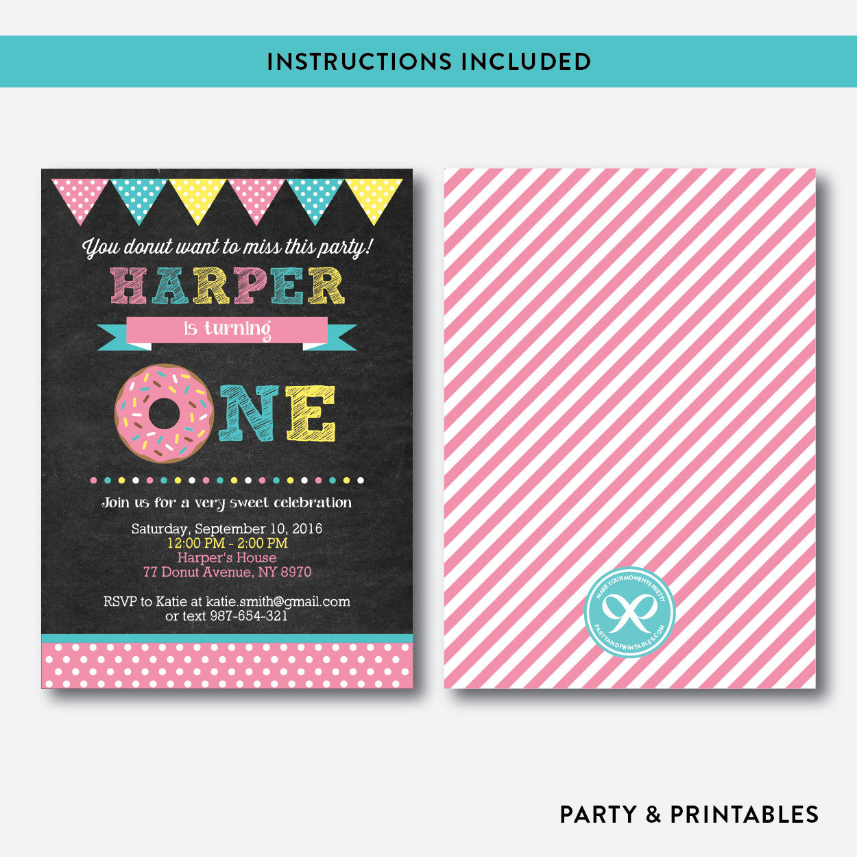 Donut Chalkboard Kids Birthday Invitation / Editable / Instant Download (CKB.10B), invitation - Party and Printables