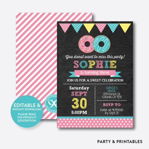 Donut Chalkboard Kids Birthday Invitation / Editable / Instant Download (CKB.10C)