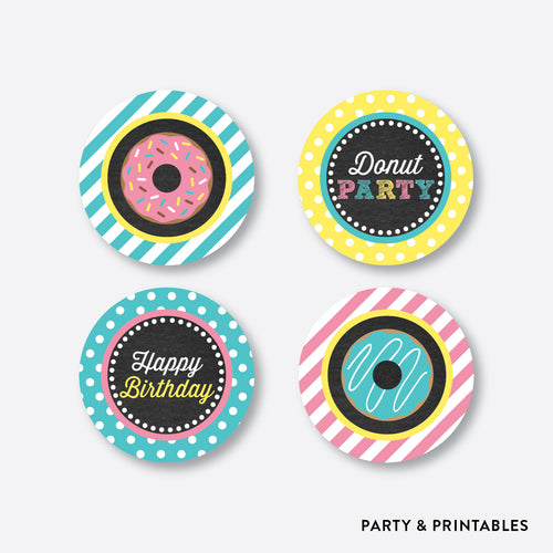Donut Chalkboard Cupcake Toppers / Non-Personalized / Instant Download (CKB.10)