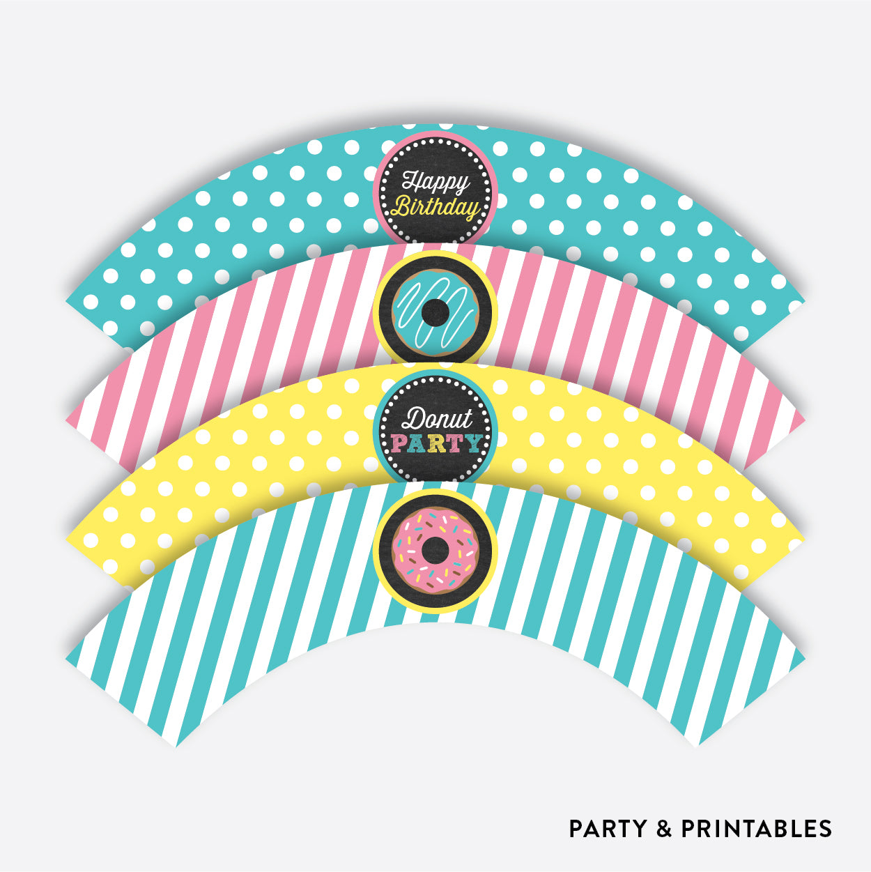 Donut Chalkboard Cupcake Wrappers / Non-Personalized / Instant Download (CKB.10), party printables - Party and Printables