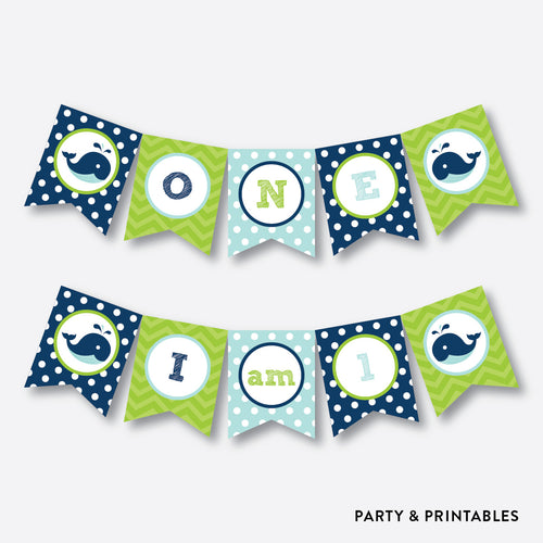 Whale Blue High Chair Banner / Non-Personalized / Instant Download (PKB.10)