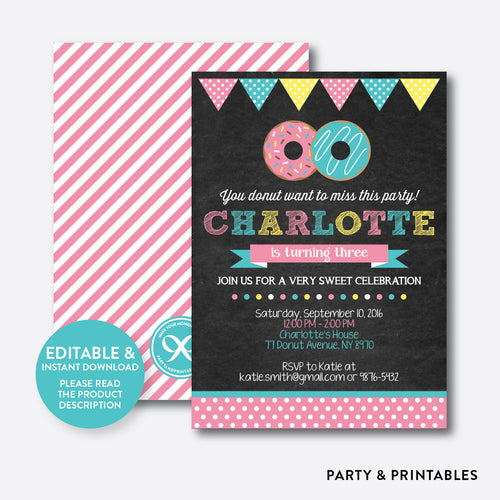 Donut Chalkboard Kids Birthday Invitation / Editable / Instant Download (CKB.10)