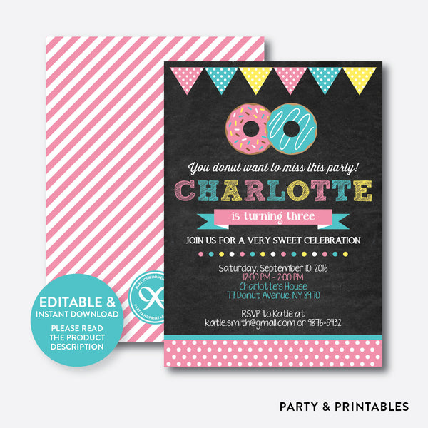 Donut Chalkboard Kids Birthday Invitation / Editable / Instant Download (CKB.10), invitation - Party and Printables