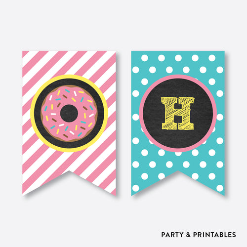 Donut Chalkboard Party Banner / Happy Birthday Banner / Non-Personalized / Instant Download (CKB.10)