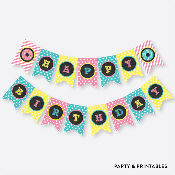 Donut Chalkboard Party Banner / Happy Birthday Banner / Non-Personalized / Instant Download (CKB.10), party printables - Party and Printables