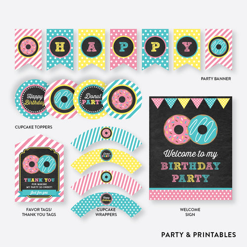 Donut Chalkboard Standard Kids Birthday Party Package / Non-Personalized / Instant Download (CKB.10)