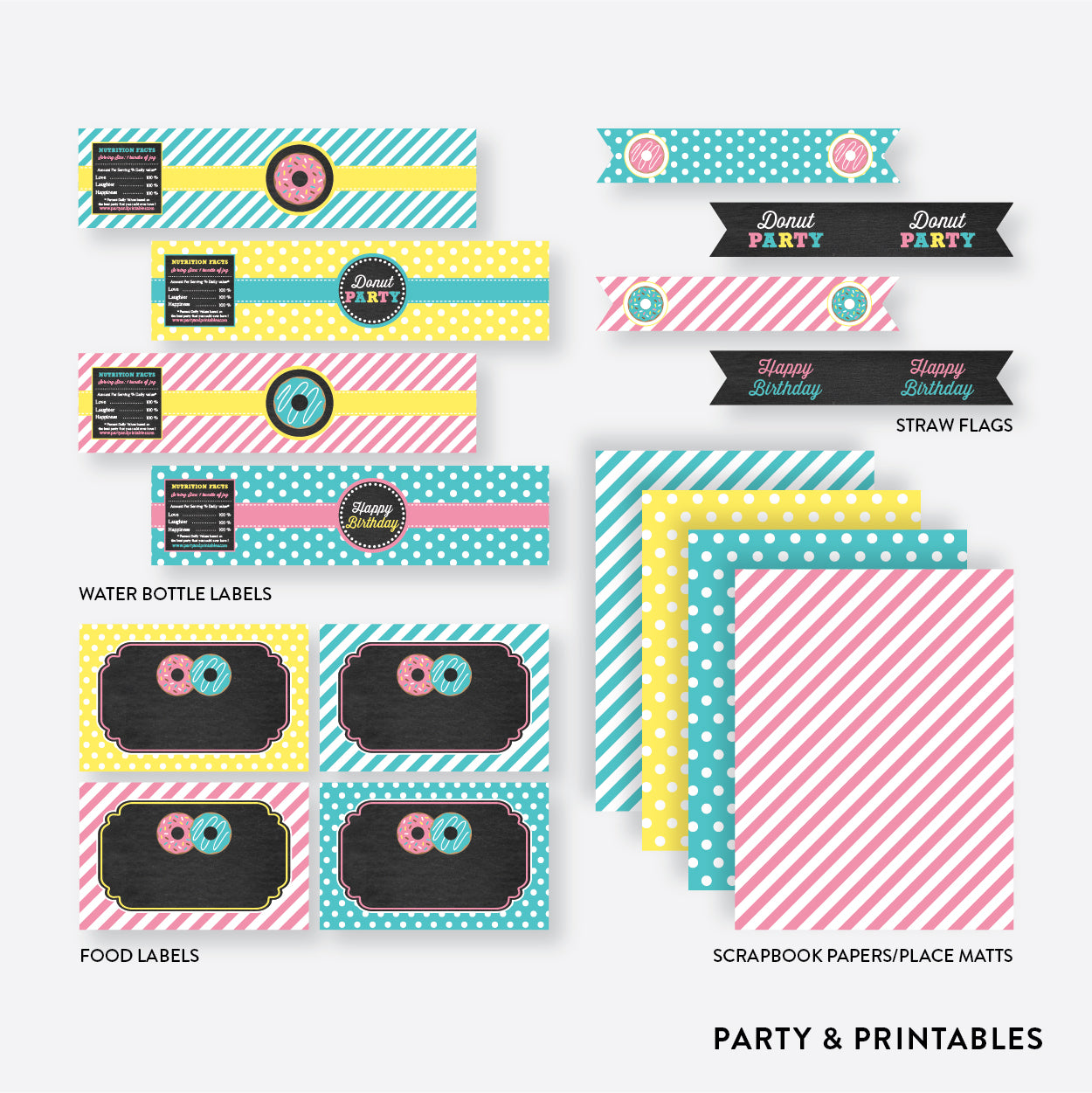 Donut Chalkboard Standard Kids Birthday Party Package / Non-Personalized / Instant Download (CKB.10), party package - Party and Printables