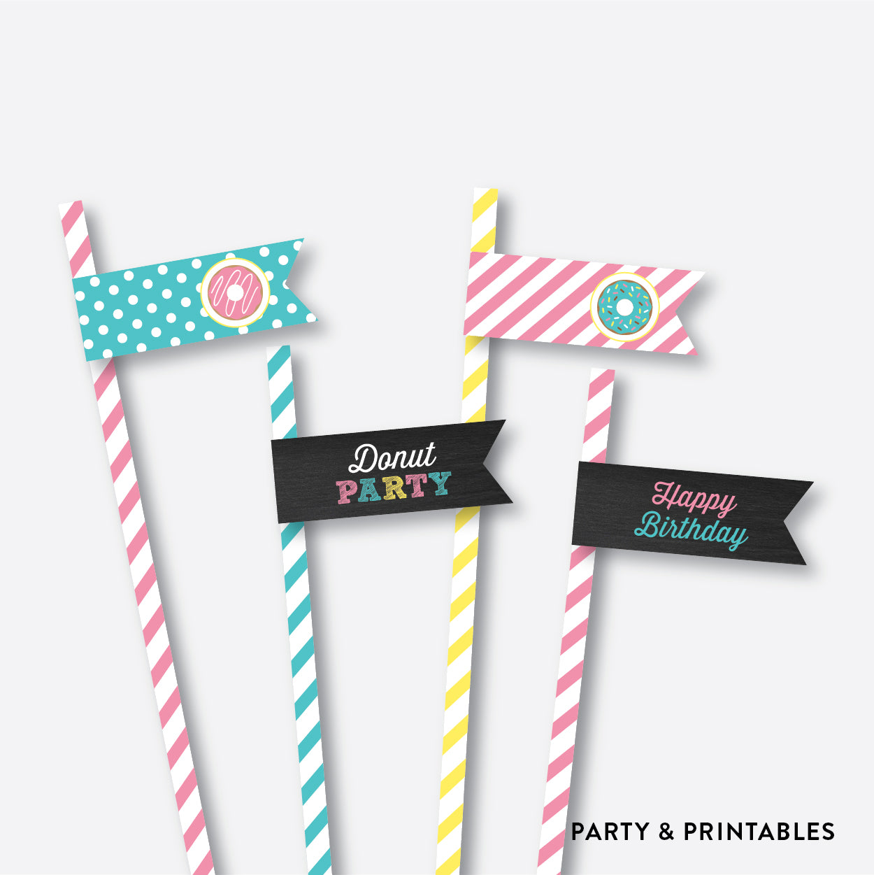 Donut Chalkboard Straw Flags / Non-Personalized / Instant Download (CKB.10), party printables - Party and Printables